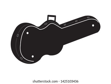 A hard case for stringed instruments like the guitar, ukulele, bass, violin and more. Editable Clip Art.