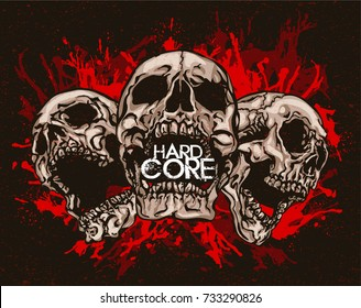 Hard Core. Trinity of mouth opened scary skulls. Hand drawn vector illustration in tattoo style.