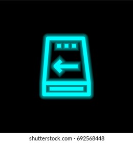 Hard disc blue glowing neon ui ux icon. Glowing sign logo vector