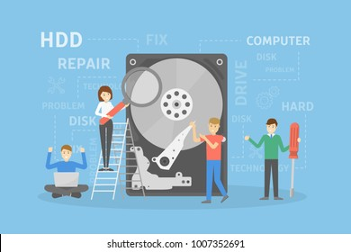Hard disc repair. Concept of computer hardware service.