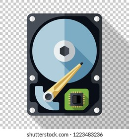 Hard disk drive or HDD icon in flat style with long shadow on transparent background