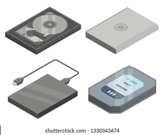 Hard disk icons set. Isometric set of hard disk vector icons for web design isolated on white background