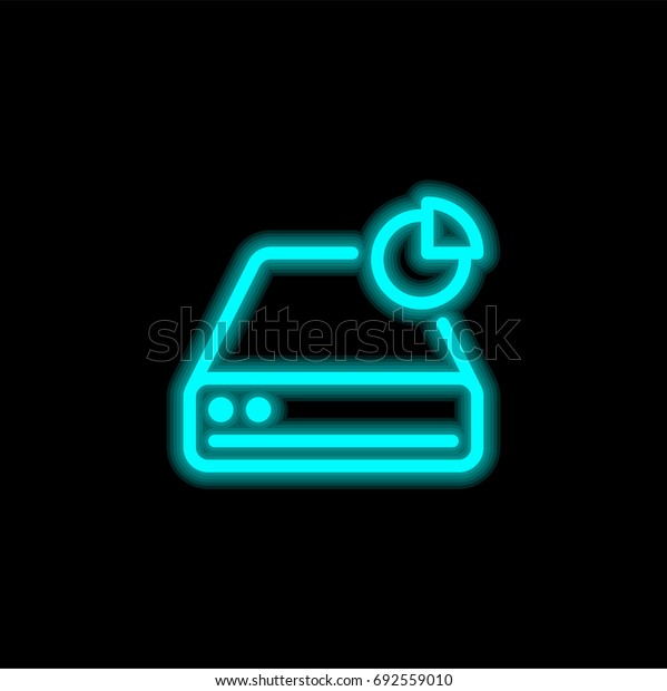 Hard drive blue glowing neon ui ux icon. Glowing sign logo vector