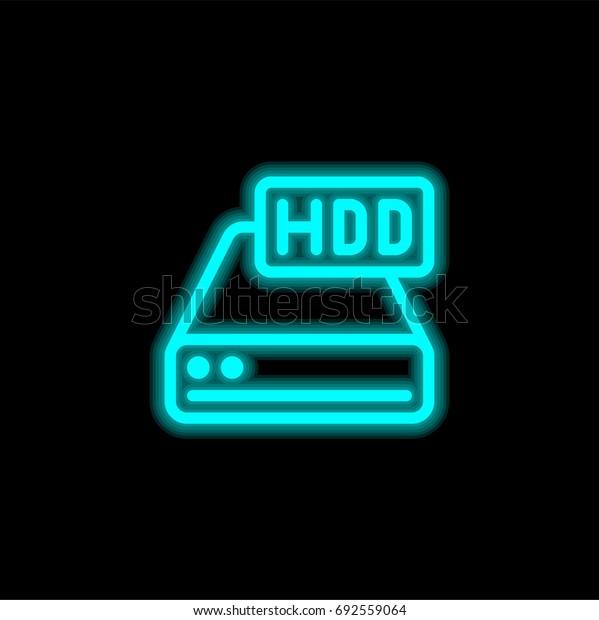 Hard drive blue glowing neon ui ux icon. Glowing sign logo vector