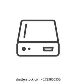 Hard drive vector icon. Hard disk drive flat sign. Portable Power bank icon symbol pictogram