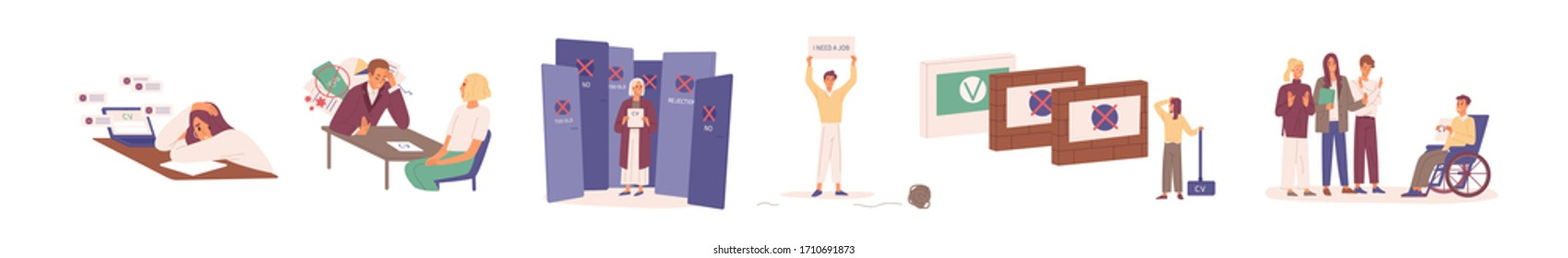 Hard to find a job during crisis. Young, disabled and elderly people have problems in job seeking. Resume is rejected by employer. Unemployed characters set. Vector illustration in flat cartoon style