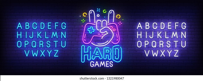Hard Game neon sign, bright signboard, light banner. Game logo, emblem and label. Neon sign creator. Neon text edit