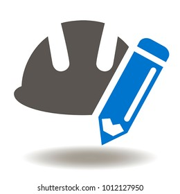 Hard Hat Pencil Icon Vector. Safety Helmet Pen Illustration. Agile Development Education Industry Logo Symbol.