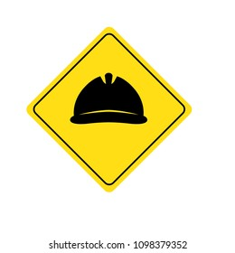 Hard hat warning sign, construction industry related logo