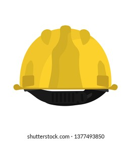 Hard hat yellow back view vector icon. Construction helmet engineer equipment. Safety worker builder plastic cap