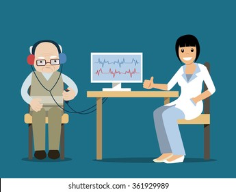 Hard of hearing elderly man visiting a female doctor. Vector illustrations in cartoon style. Medical audible test. Concept for hearing loss, deafness, medical care for hearing impaired people.