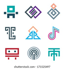 Hard lines simple pixel logo pictogram computer icon set