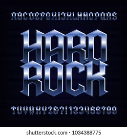 Hard rock alphabet font. Metal effect letters, numbers and symbols. Stock vector typeface for your design.