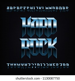 Hard rock alphabet font. Metal effect shiny letters, numbers and symbols. Stock vector typeface for your design.