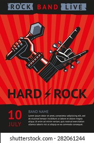 Hard rock. Design template for a rock concert poster with a microphone and guitar