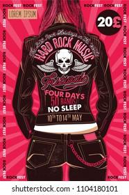 Hard Rock Festival Poster. Rocker Girl in a Leather Biker Jacket.