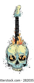 Hard rock grunge burning electric guitar made of a human skull. EPS10 vector hand drawn illustration. Isolated on white.