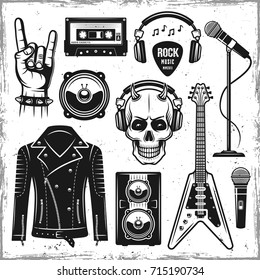 Hard rock and metal music attributes set of vector black objects, design elements in vintage style isolated on background with removable textures