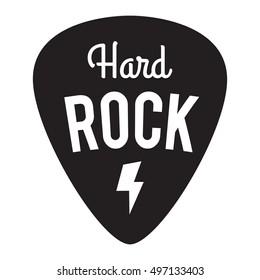 Hard Rock Music Badge/Label. For signage, prints and stamps. Guitar pick/mediator with lightning bolt. Hard rock festival