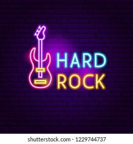 Hard Rock Neon Sign. Vector Illustration of Music Promotion.