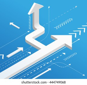 Hard Way to success. Business development concept. Vector isometric illustration. Start up, launch, moving forward to result, communication and cooperation idea, blue grunge flat design