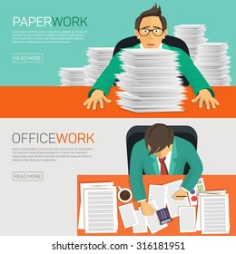 Hard work, businessman accounting at the office, vector illustration.