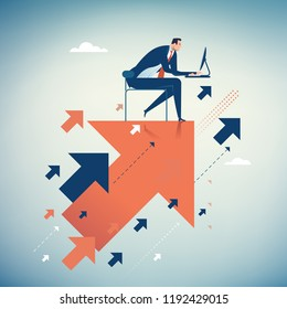 Hard Work Leads to Success. Businessman working on flying arrows. Concept business illustration
