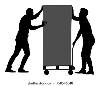 Hard workers pushing wheelbarrow and carry big box vector silhouette isolated on white. Delivery man moving package by cart. Service moving transport. Warehouse job activity.  Looting bailiff laborers