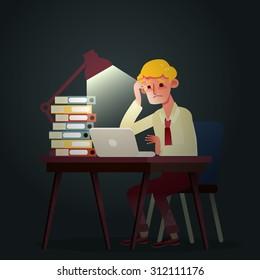 hard working business man night in office vector cartoon illustration