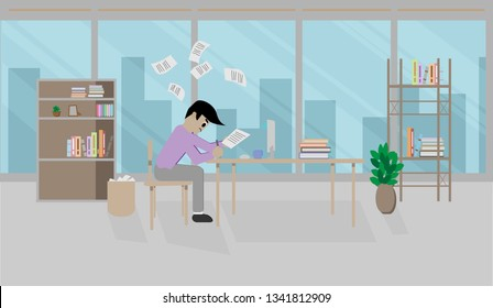Hard working businessman, male employee with paper on workspace desk in office