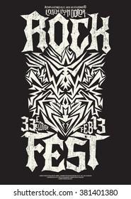 Hardcore Rock fest poster design template - metal festival monochrome label