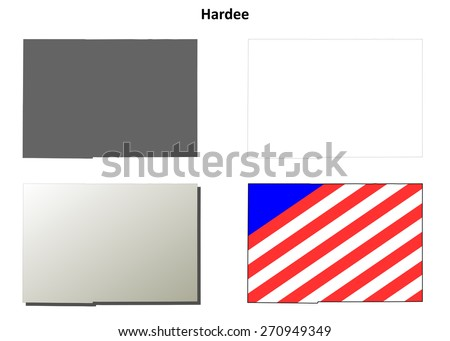 Hardee County Florida Outline Map Set Stock Vector Royalty Free