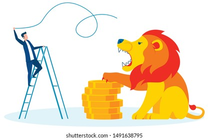 Hardships Earning Cash Cartoon Vector Metaphor. Huge Lion Guarding Pile of Gold Coins. Man Taming Angry Wild Animal. Obstacles Before Wealth and Prosperity. Businessman with Whip On Ladder
