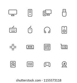Hardware and Computer Peripherals Icon Set