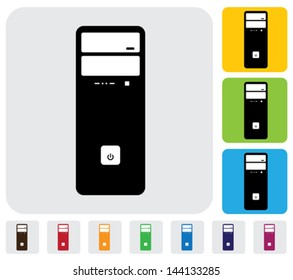 Hardware CPU or Desktop or workstation- simple vector graphic. The illustration has simple colorful icons on green,orange & blue backgrounds & is useful for websites,blogs,documents,printing,etc