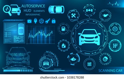 Hardware Diagnostics Condition of Car, Scanning, Test, Monitoring, Analysis, Verification - Illustration Vector