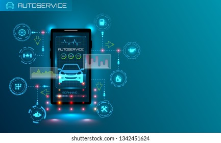 Hardware Diagnostics Condition of Car, Scanning, Test, Monitoring, Analysis, Verification. HUD UI - Illustration Vector