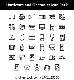 Hardware and electronics related icons created to use on your next project and work beautifully