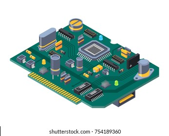 Hardware equipment for computers. Semiconductors, capacitor and chips. Electrical computer semiconductor, component of circuit. Vector illustration