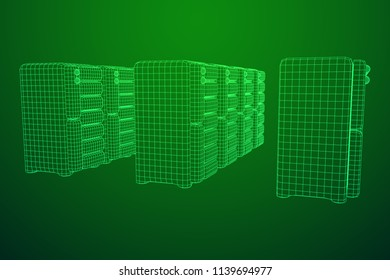 Hardware equipment telecommunication server. Data center storage room object. Computer database tower. Internet industry cluster. Wireframe low poly mesh vector illustration