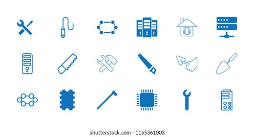 Hardware icon. collection of 18 hardware filled and outline icons such as garden hammer, wrench, cpu, saw, server, wire, trowel. editable hardware icons for web and mobile.