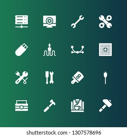 hardware icon set. Collection of 16 filled hardware icons included Hammer, d printer, Toolbox, Auger, Board, Tools, Wrench, Cpu, Vector, Cable, Usb, Configuration, Server