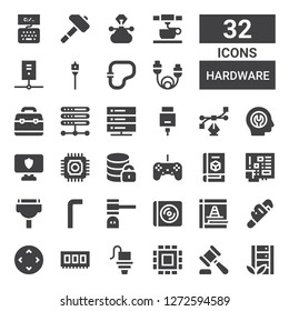 hardware icon set. Collection of 32 filled hardware icons included Server, Hammer, Cpu, d printer, Ram, Controller, Wrench, Maintenance, Cd, Allen keys, Cable, Microchip, Hosting