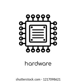 Hardware icon. Trendy modern flat linear vector Hardware icon on white background from thin line Programming collection, editable outline stroke vector illustration