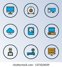 Hardware icons colored line set with wi-fi modem, man with laptop, PC and other workstation elements. Isolated vector illustration hardware icons.