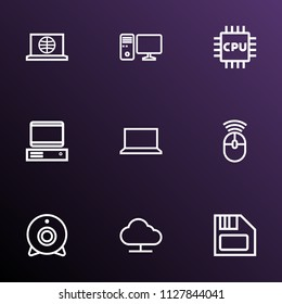 Hardware icons line style set with internet, notebook, PC and other PC  elements. Isolated vector illustration hardware icons.