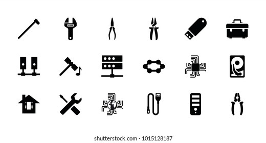 Hardware icons. set of 18 editable filled hardware icons: hammer, cpu, toolbox, pliers, garden hammer, flash drive, server, wire, hard disc, wrench, wrench and screwdriver