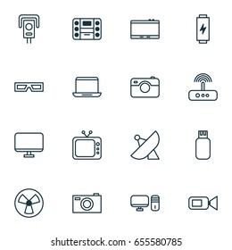 Hardware Icons Set. Collection Of Boombox, Switch, Antenna And Other Elements. Also Includes Symbols Such As Camcorder, Usb, Ventilator.