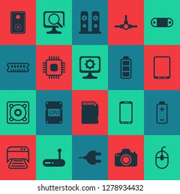 Hardware icons set with cpu, photocamera, music speaker and other printed document elements. Isolated vector illustration hardware icons.
