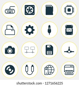 Hardware icons set with distributed connection, photocamera, floppy disk and other memory card elements. Isolated vector illustration hardware icons.